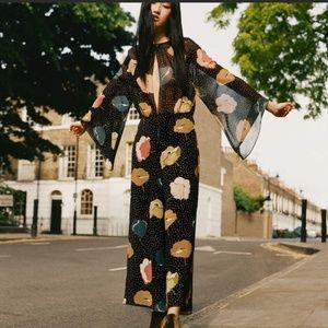 Zara Black Floral Polka Dot Jumpsuit Romper Size M